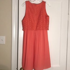 LOFT Dresses - Beautiful Loft Coral Crochet Bodice Dress